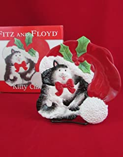 Fitz and Floyd Kitty Claus Canape Christmas Plate