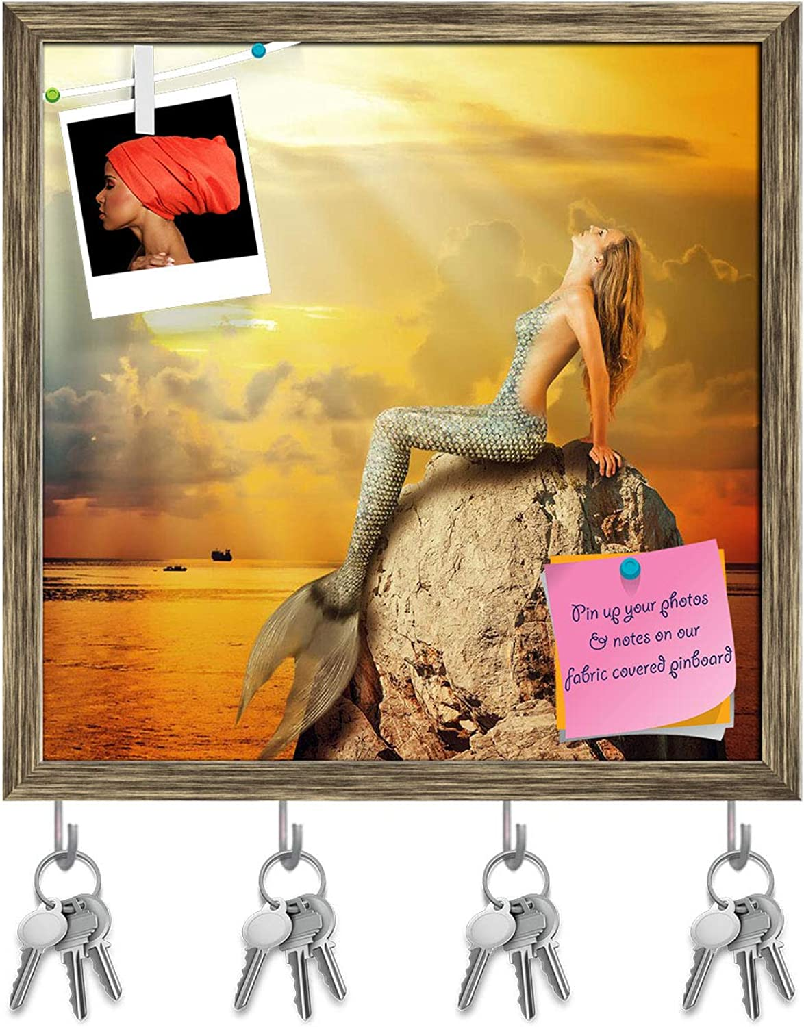 Artzfolio Mermaid with Fish Tail Swimming in The Sea Key Holder Hooks   Notice Pin Board   Antique golden Frame 20 X 20Inch