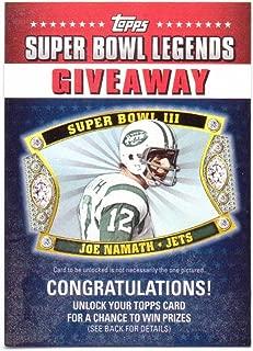 Joe Namath 2011 Topps Super Bowl Legends Giveaway #SBLG-1 - New York Jets