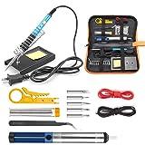 Tabiger Soldering Iron Kit 15-in-1, 60W Soldering Iron with Adjustable Temperature, Soldering Gun, 5pcs Soldering Iron Tips, Solder Wire, Desoldering Pump, ...