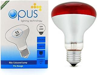 5 x Opus 53 Watt = 75 Watt Red Coloured R80 Reflector Halogen Light Bulbs ES E27 Dimmable Lamps