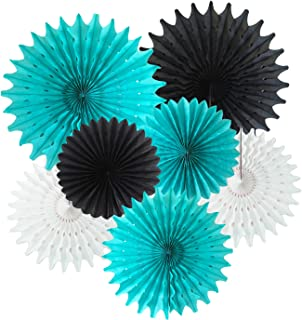 Bridal Shower Decorations Robin's Egg Blue White Black Tissue Paper Fan Decorations Robin's Turquoise Birthday Party Decorations/Moustache Birthday Little Man Birthday Party Decorations