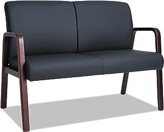 Alera RL Reception Lounge Series Wood Loveseat, 44 7/8 x 26 1/8 x 33, Black/Mahogany