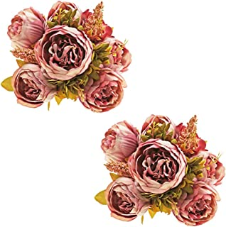 Ezflowery 2 Pack Artificial Peony Silk Flowers Arrangement Bouquet for Wedding Centerpiece Room Party Home Decoration, Elegant Vintage, Perfect for Spring, Summer and Occasions (2, Light Purple)