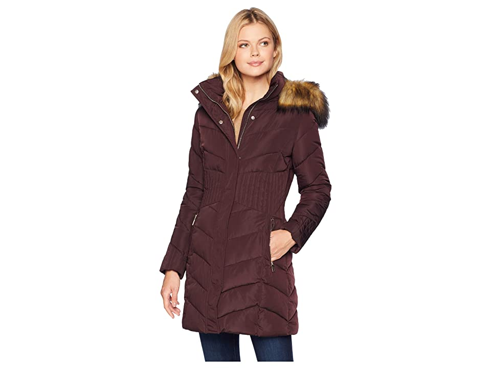 Ivanka Trump Puffer Jacket with Chevron Quilt and Detachable Fur Hood (Burgundy) Women