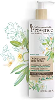 Mademoiselle Provence Shea Butter Body Lotion Organic Sweet Almond and Orange Blossom Extract | Sensitive Dry Skin Nourishing Soothing Natural Vegan Body Cream | For the Whole Family 13.5 fl oz