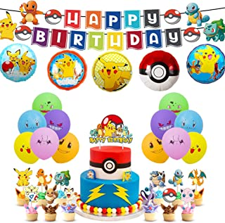 47 Pcs  Birthday Party Supplies for Kids and Boys Pikachu Party Favor Includes Birthday Cake Toppers Decorations Balloons and Banner