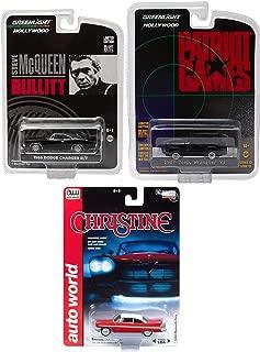 Greenlight Movie Rides Classic Movie 3 car Set Bullitt Steve McQueen Charger + Patriot Games Jeep Wrangler YJ & Christine Plymouth Fury Auto World Model