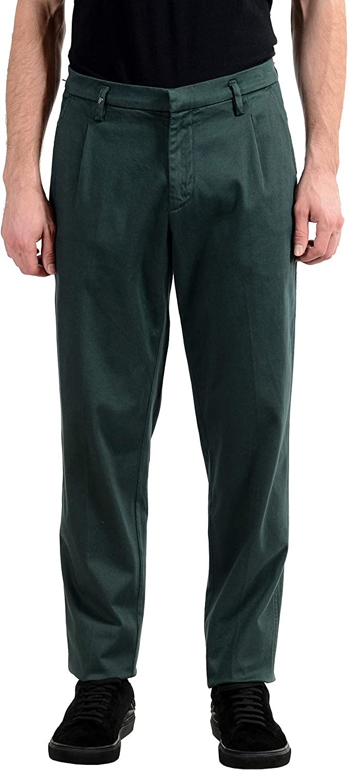 Versace Collection Men's Green Pleated Casual Pants US 32 IT 48
