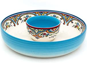 Euro Ceramica Zanzibar Chip and Dip Bowl, 2 Piece Set, Multicolor