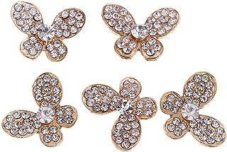 Prettyia 5x Butterlfy Rhinestone Buttons Flatback Embellishments DIY Phone Case Dress