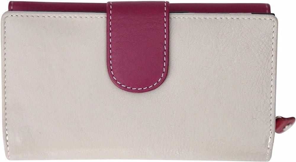 Felda, portafoglio, porta carte di credito con protezione rfid, in vera pelle, per donna, granata 4331329614