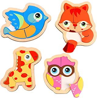 AOLIGE Toddler Wooden Jigsaw Puzzles Preschool Educational Toys 1 2 3 Years Old Pack of 4