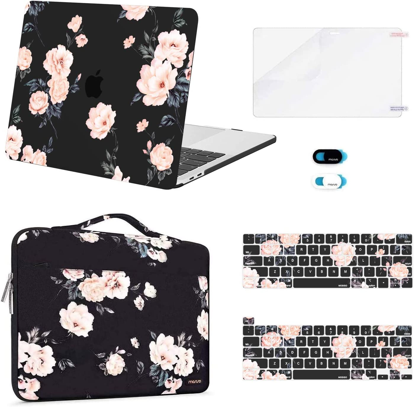 MOSISO Compatible with MacBook Pro 13 inch Case 2016-2020 Release A2338 M1 A2289 A2251 A2159 A1989 A1706 A1708, Plastic Camellia Hard Shell Case&Bag&Keyboard Skin&Webcam Cover&Screen Protector, Black