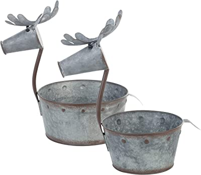 Napco Galvanized Silvertone Deer 12.25 x 8.25 Metal Decorative Planter, Set of 2