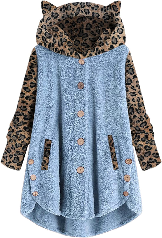 iQKA Women Jacket Faux Fur Winter Warm Coat Button Hoodie Leopard Print Long Sleeve Hooded Pullover Plus Size Sweatshirt