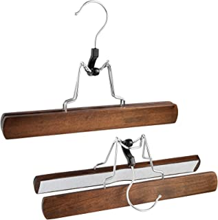 Bartnelli Wooden Skirt Hangers with Clamp - Clamping Trouser Hanger for Jeans, Slacks and Pants – Solid Wood with Chrome Swivel Hook – Vintage Finish - Pack of 10