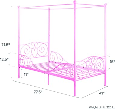DHP Metal Canopy Bed with Sturdy Bed Frame - Twin Size (Pink)