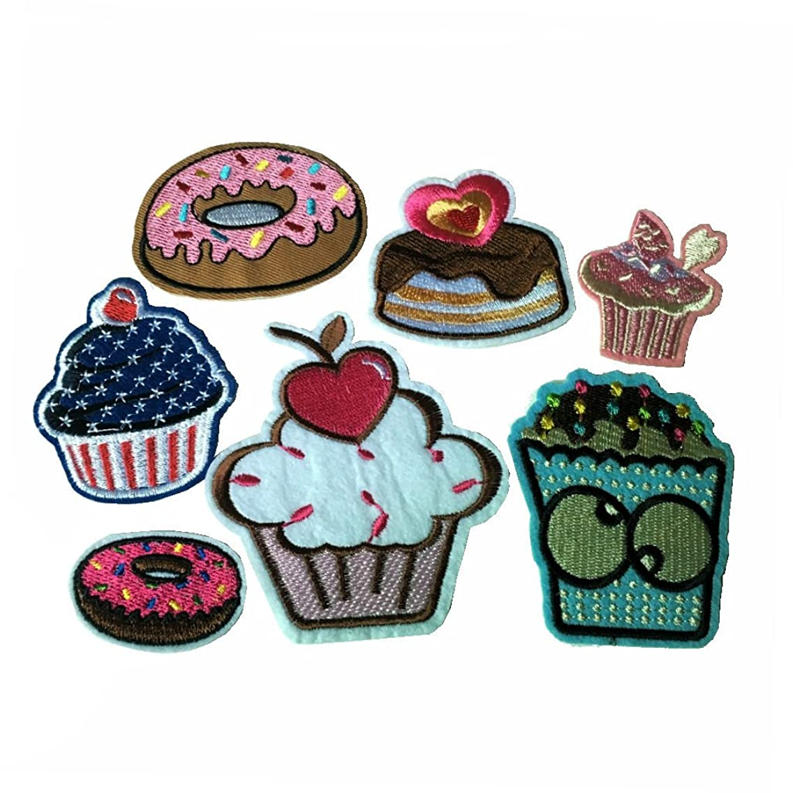 7pcs LIn Cake Iron On Patches Cartoon Embroidery Ice Cream Badges For Sewing Kids Clothing (CAKE A)