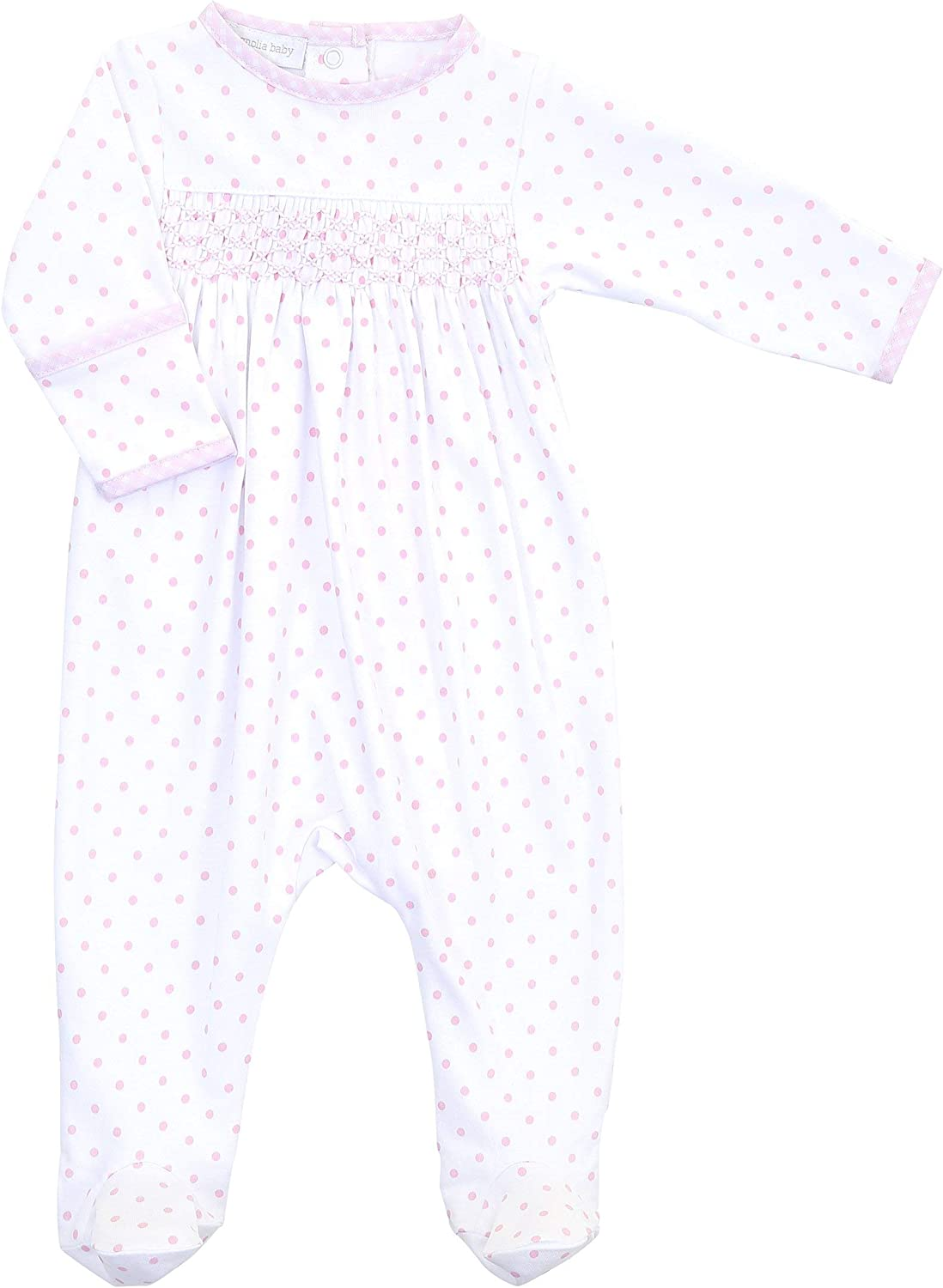 Magnolia Max 55% OFF Baby Girl Gingham Dots Award Footie P Essentials Smocked