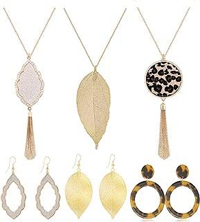 Long Pendant Necklace Dangle Drop Earrings Set for Women Girls Leopard Leather Leaf Tassel Necklace Tortoise Shell Acrylic Resin Earrings Gold 6 PCS