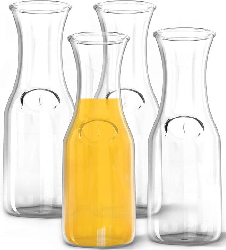 1 Liter Glass Carafe 4 Pack Elegant Wine Decanter And Drink Pitcher Narrow Neck For Comfortable Grip Wide Mouth For Easy Pouring Great For Parties And Events Kitchen Lux