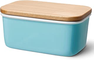Sweese 301.102 Large Butter Dish – Porcelain Keeper with Beech Wooden Lid, Perfect..