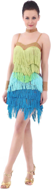Smarts Dance Ladies Fringe Ballroom Salsa Samba Rumba Tango Swing Cha Cha Tango Rhythm Latin Dance Dresses bluee US 8 UK 10 skld1013