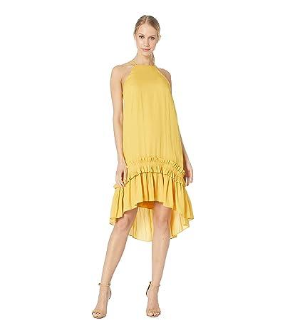 Halston Heritage Sleeveless Dress with Pleated Ruffle Hi-Lo Hem (Marigold 1) Women