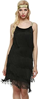 HOTLOOX Women's Flapper Dresses Vintage 1920s V Neck Beaded Fringed Lace Tassels Hem Flapper Great Gatsby Dress
