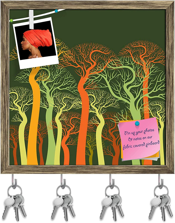 Artzfolio Autumn Abstract Tree Key Holder Hooks   Notice Pin Board   Antique golden Frame 20 X 20Inch