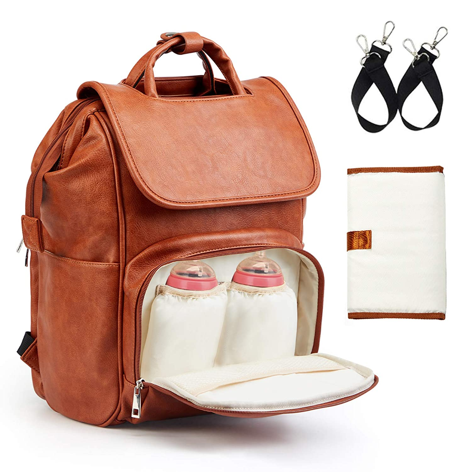 Solim Leather Diaper Bag Backpack ,Unisex Baby Travel Bag with Changing Mat