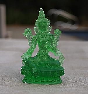 DhramObjects Tibetan Buddhist Green Tara Resin Statue Mother Goddess (5 Inches)