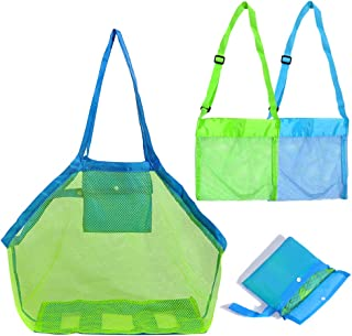 HHMM Mesh Beach Tote Bag for Sand Toys Extra Large (1 Piece), Kids Sea Shell Bags (2 Pieces)