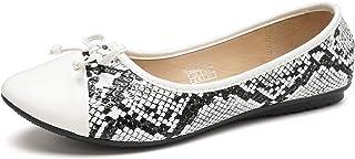 KeBuLe Women Flat Shoes Snake Print Patent Ballet Shoes Two Tone Round Cap Toe