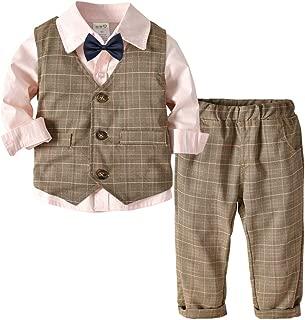 Fairy Baby 4PC Baby Boy Outfit Toddler Clothes Set Formal Suit Tuxedo Shirt+Vest+Pant Set