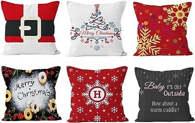 Amazon.com: VOOKY - Juego de 4 almohadas de algodón y lino ...