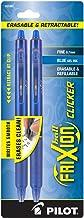 خلبانان قلم قابل پاک شدن FriXion Clicker قابل شستشو ، نقطه ریز ، جوهر آبی ، دو بسته (31461)