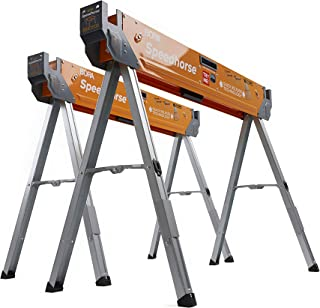 Bora Portamate Speedhorse Sawhorse Pair– Two Pack, Table Stand with Folding Legs, Metal Top for 2x4, Heavy Duty Pro Bench ...
