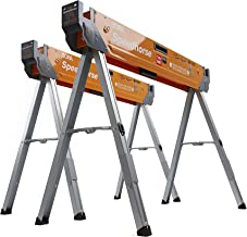 Bora Portamate Speedhorse Sawhorse 2-Pack | Heavy Duty Benchhorse Table Stand with Folding Legs and Metal Top for 2x4