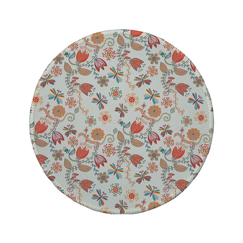 Non-Slip Rubber Round Mouse Pad,Dragonfly,Cute Tulip Floral Blossom Ornate Pattern with Butterflies Artsy Illustration Decorative,Multicolor,11.8