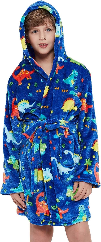 Boys Girls Robe Toddler Kids Soft Plush Hooded Bathrobe Sleepwear Pajamas Gifts Selections for Kids
