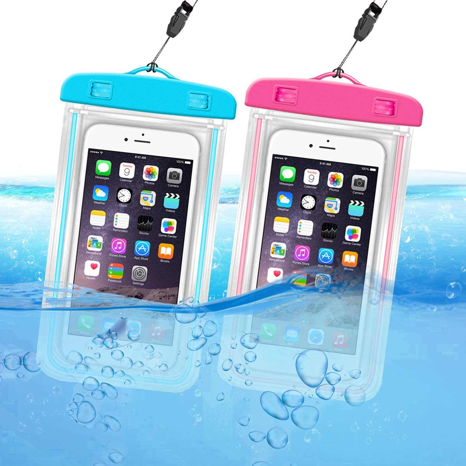 ORIbox Waterproof Pouch Phone Dry Bag with Luminous Ornament Case for iPhone 12 11 Pro Max XS Max XR X 8 7 6S Plus SE 2020 12 mini Galaxy Pixel, Blue & Rose red(2 Packs)