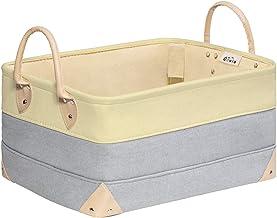 """OLLVIA Decorative Fabric Storage Bins Basket (15.7"""" x 11.8""""x8.3"""", Grey with Yellow)"""
