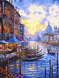 Various Venice Series Paint by Numbers for Adults Kids Beginners with Paint and Brushes,Seaside City(16×20inches,Without F...
