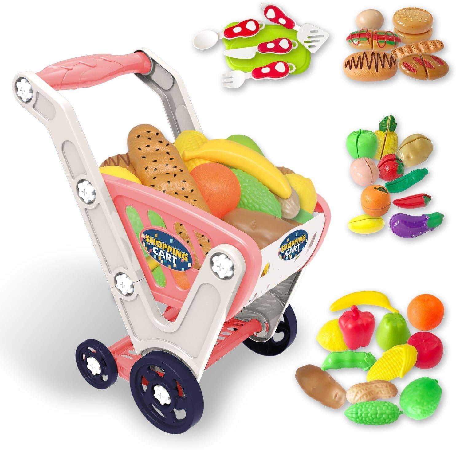 LADUO Large Kids Shopping cart Toy,Childrens Shopping Trolley Ba