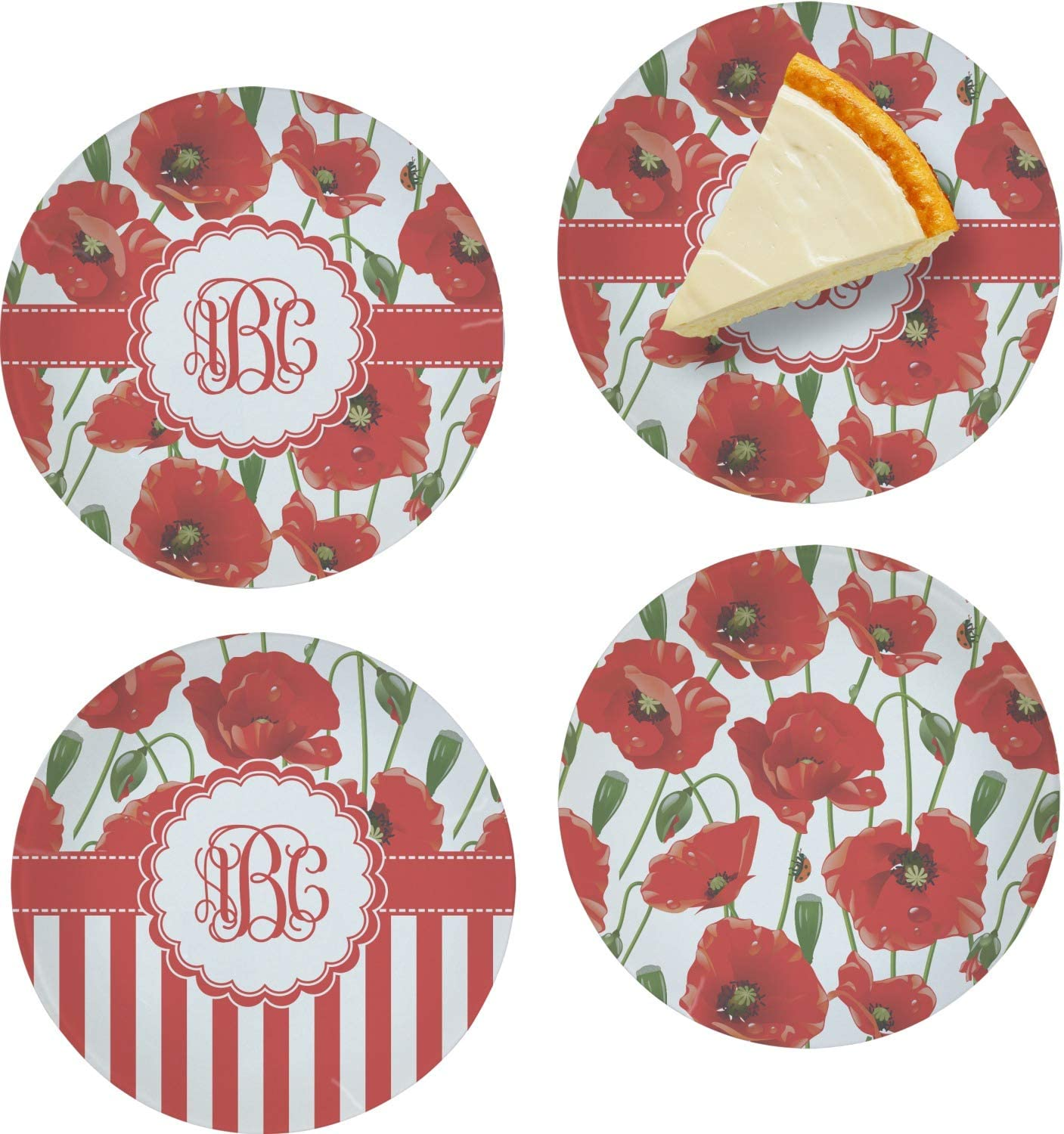 shopping Poppies Set of 4 Glass Dessert Personalized Recommendation Plate 8