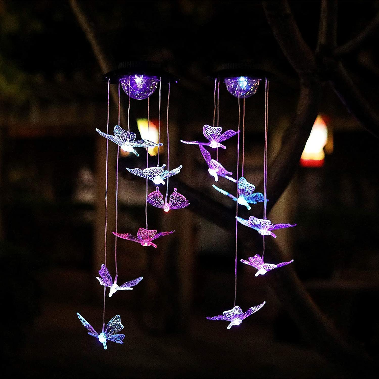 Yeuago 2 Pack Solar Wind Chimes Outdoor, Changing Color LED Butterfly Wind Chimes,Decor for Patio Yard Garden Home,for Mom, Grandma Birthday Gifts