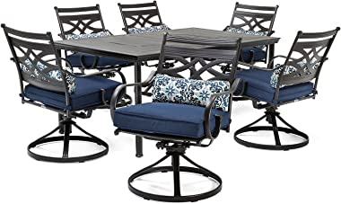 Hanover Montclair 7-Piece All-Weather Outdoor Patio Dining Set, 6 Swivel Rocker Chairs with Comfortable Navy Seat and Lumbar