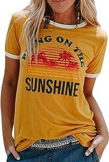 UMIPUBO Bluas de Mujer Camisa Algodón Cuello Redondo Basica Blusa Mujer Elegante Bring On The Sunshine Print Manga Corta L...